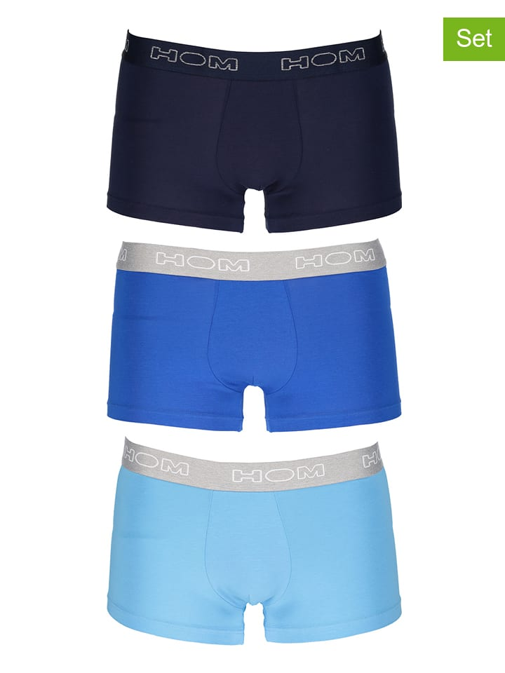 HOM Bokserki (3 pary) w kolorze niebieskim
