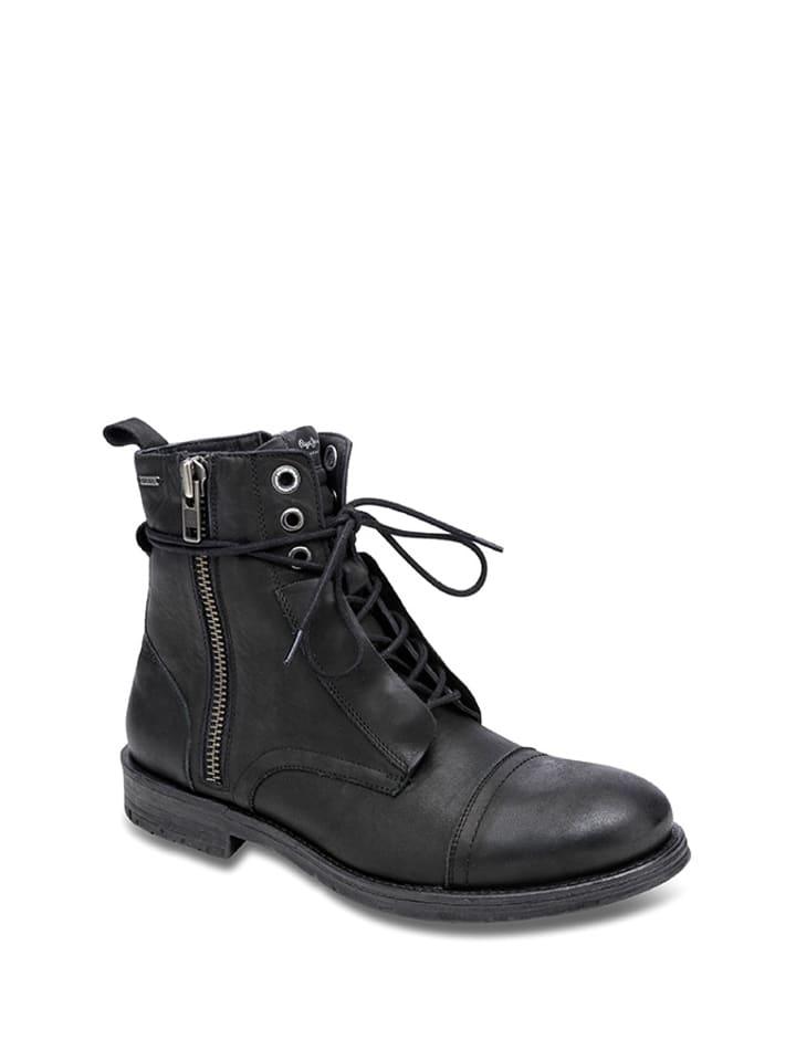 Pepe Jeans Skórzane trzewiki w kolorze czarnym