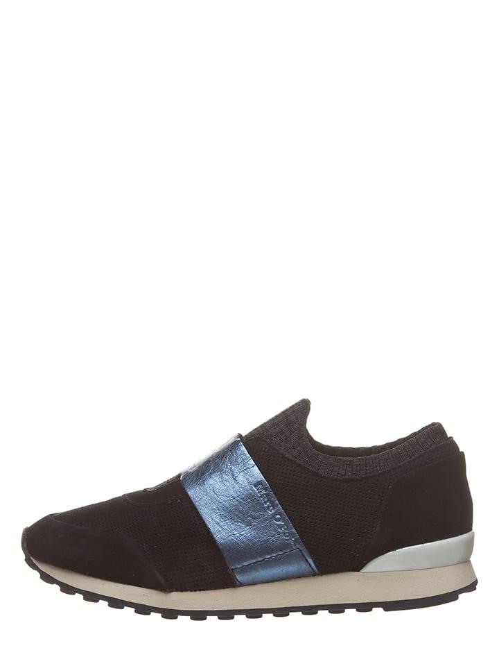 Marc O'Polo Skórzane slippersy w kolorze granatowym