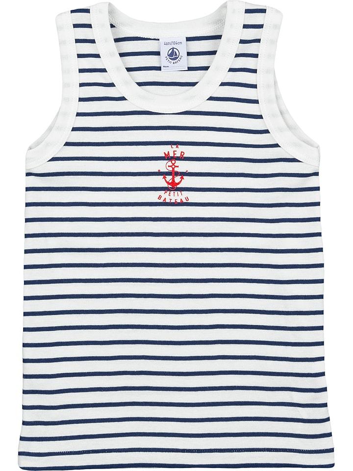 PETIT BATEAU Unterhemd in Weiß/ Dunkelblau