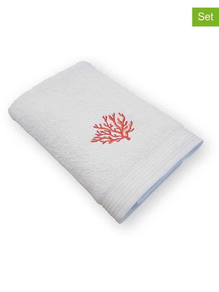 Framsohn 2er Set Handtucher Koralle In Weiss Rot Limango Outlet