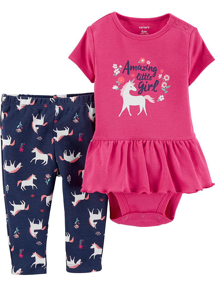 Carter's 2-delige outfit donkerblauw/roze