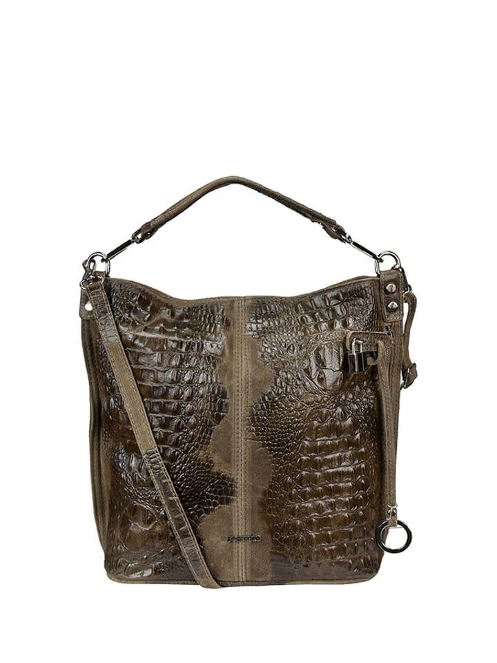 bee9c36c3ac24 Skórzana torebka w kolorze khaki - (S)36 x (W)32 x (G)14 cm ...