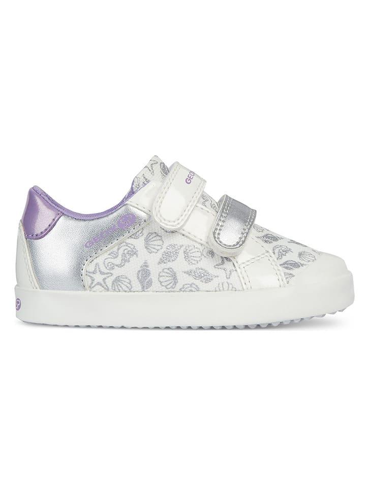 """Geox Skórzane sneakersy """"Gisli"""" w kolorze biało-srebrnym"""