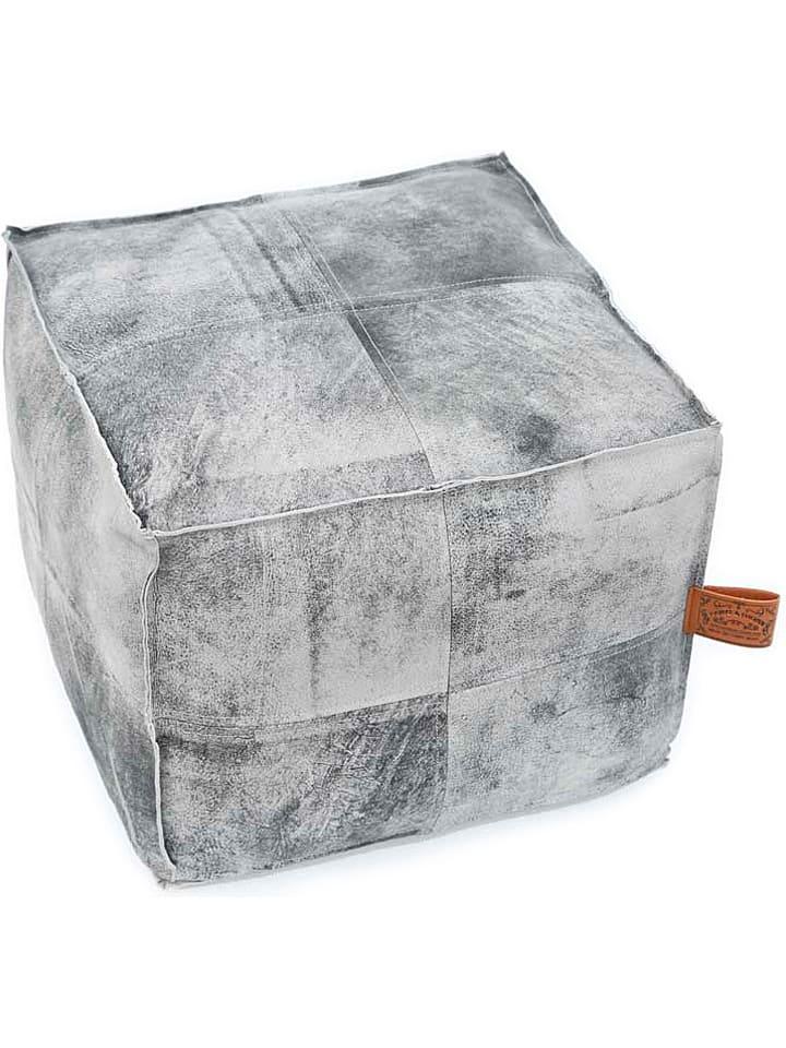 "Hawke&Thorn Leren pouf ""Hudson"" grijs - (B)43 x (H)35 x (D)43 cm"