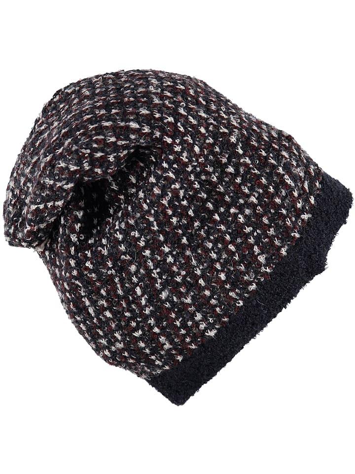 Sisley Czapka w kolorze czarno-brązowym