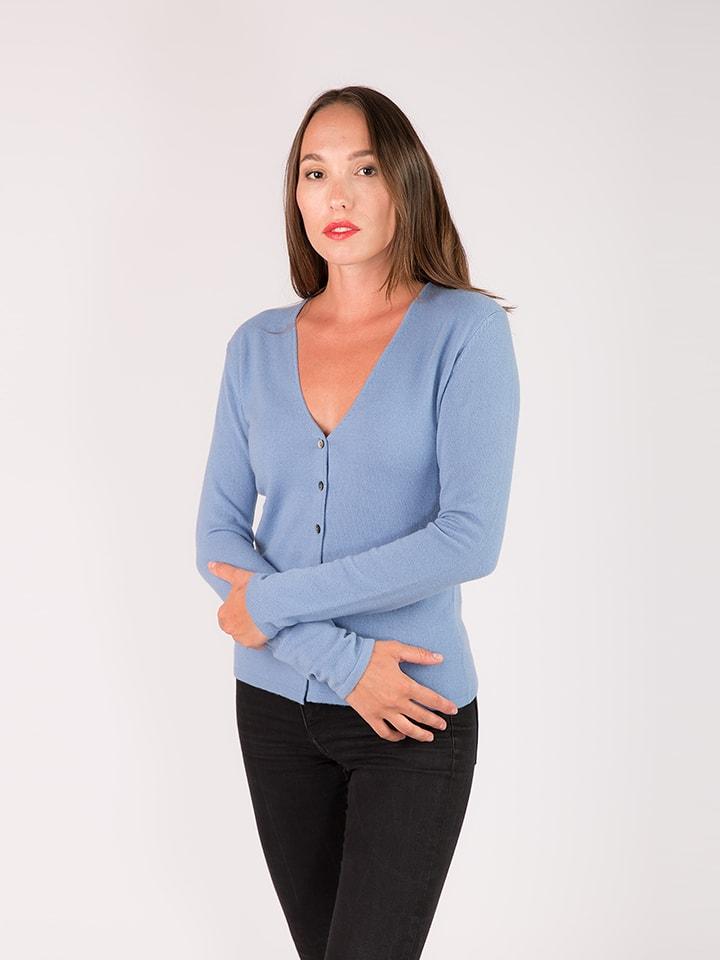 Just Cashmere Kaszmirowy kardigan w kolorze błękitnym