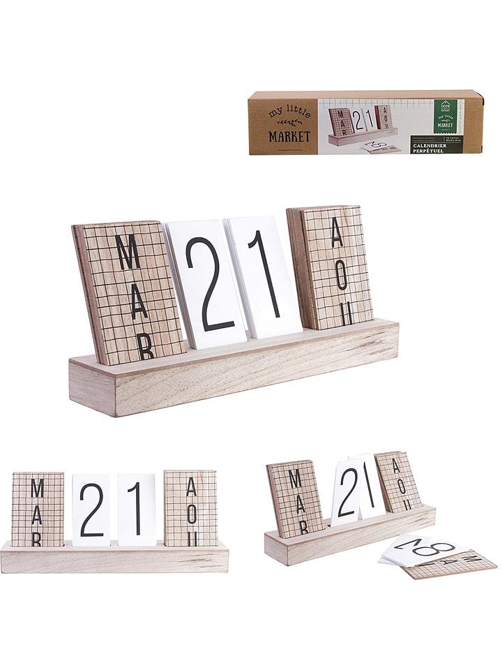 """Jaarloze kalender """"My Little Market"""" naturel"""