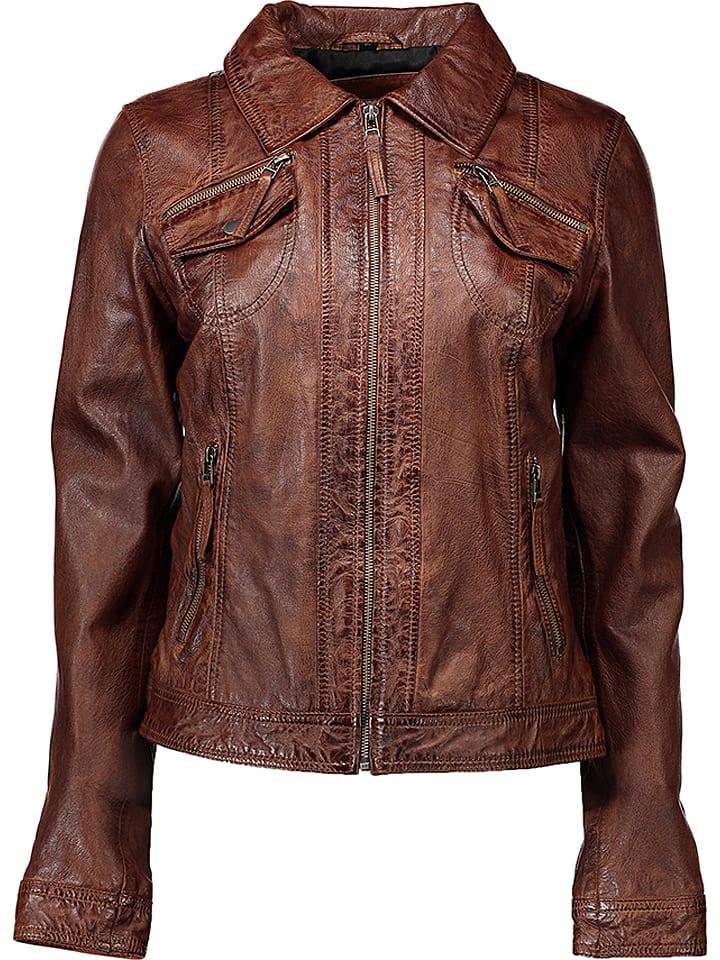 ba91e24e2a5f4 Skórzana kurtka w kolorze brązowym - Caminari - Wyprzedaż w Outlet ...