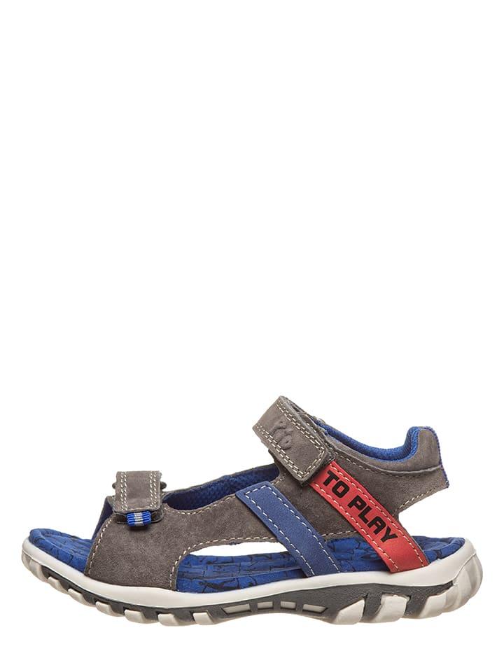 Pio Skórzane sandały w kolorze szarym