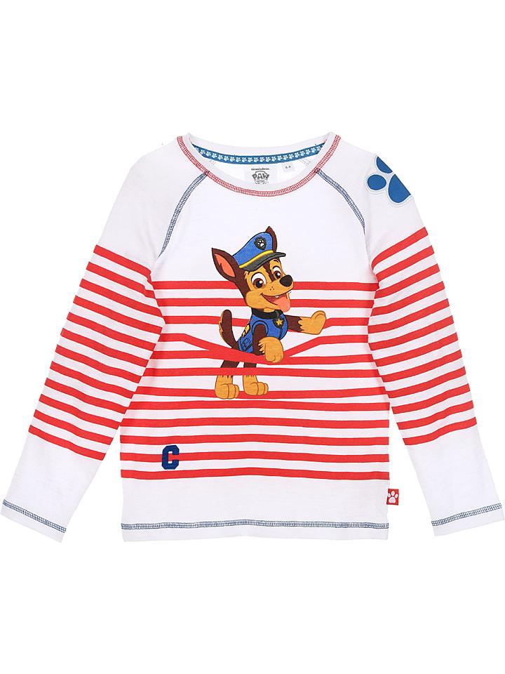 """Disney Paw Patrol Koszulka """"Paw Patrol"""" w kolorze biało-czerwonym"""