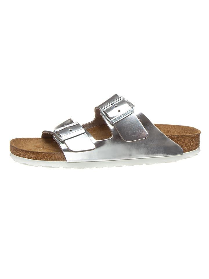 "Birkenstock Leder-Pantoletten ""Arizona"" in Silber - Weite S"
