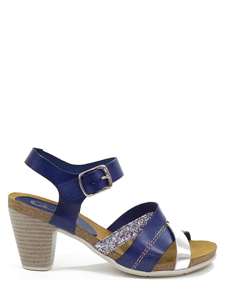 Skórzane sandały w kolorze niebieskim CLKA Wyprzedaż w