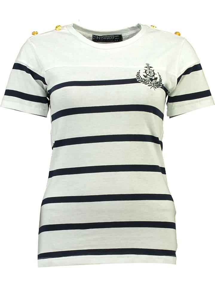 "Geographical Norway Shirt ""Jalmina"" in Weiß/ Dunkelblau"