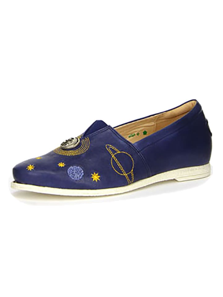 Think! Skórzane slippersy w kolorze granatowym