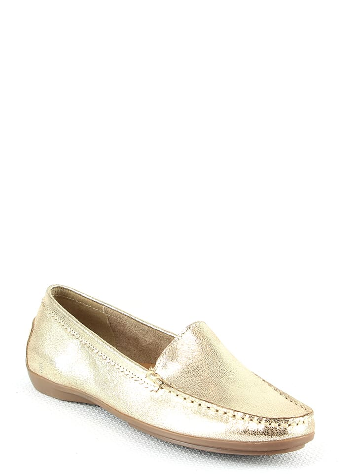 Manoukian shoes Skórzane mokasyny w kolorze złotym