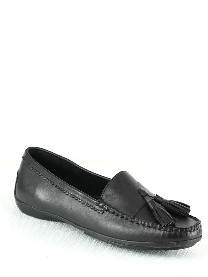 Manoukian shoes Skórzane mokasyny w kolorze czarnym