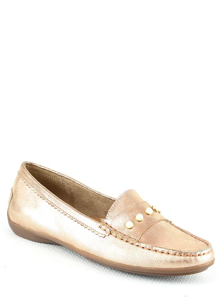 Manoukian shoes Skórzane mokasyny w kolorze jasnoróżowo-złotym