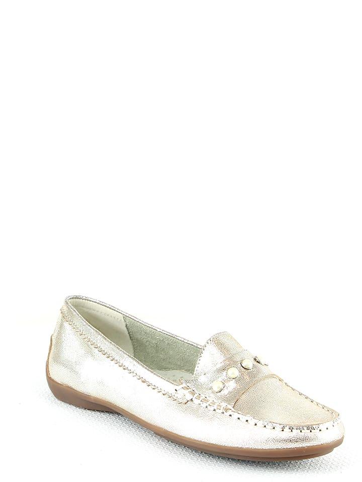 Manoukian shoes Skórzane mokasyny w kolorze srebrnym
