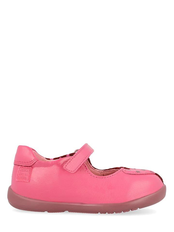 Agatha Ruiz de la Prada Skórzane baleriny w kolorze różowym z paskiem