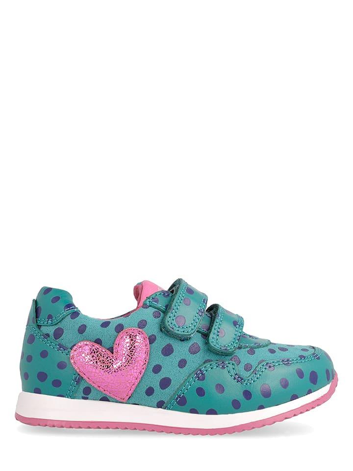 Agatha Ruiz de la Prada Leren sneakers groen/lichtroze