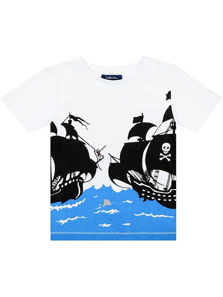 ATTENTION Shirt in Weiß/ Blau