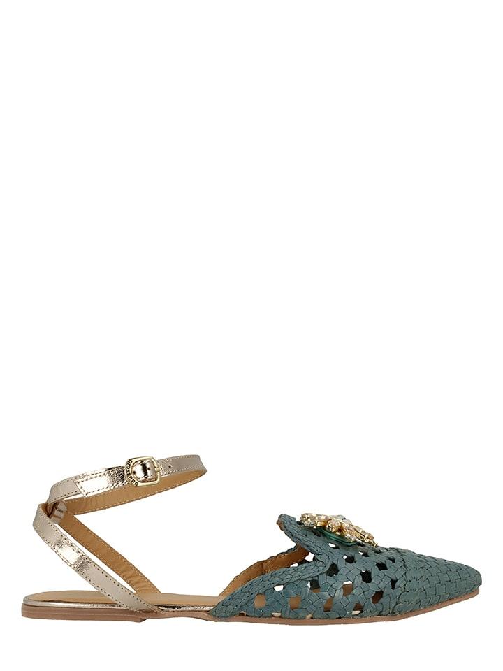 Gioseppo Skórzane sandały w kolorze błękitnym