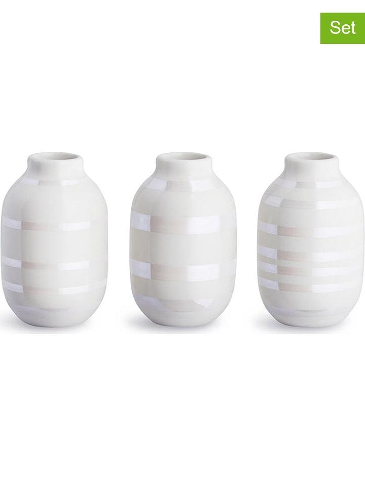 "Kähler Lot de 3 : vases ""Omaggio"" - blanc/nacré - 8 cm"