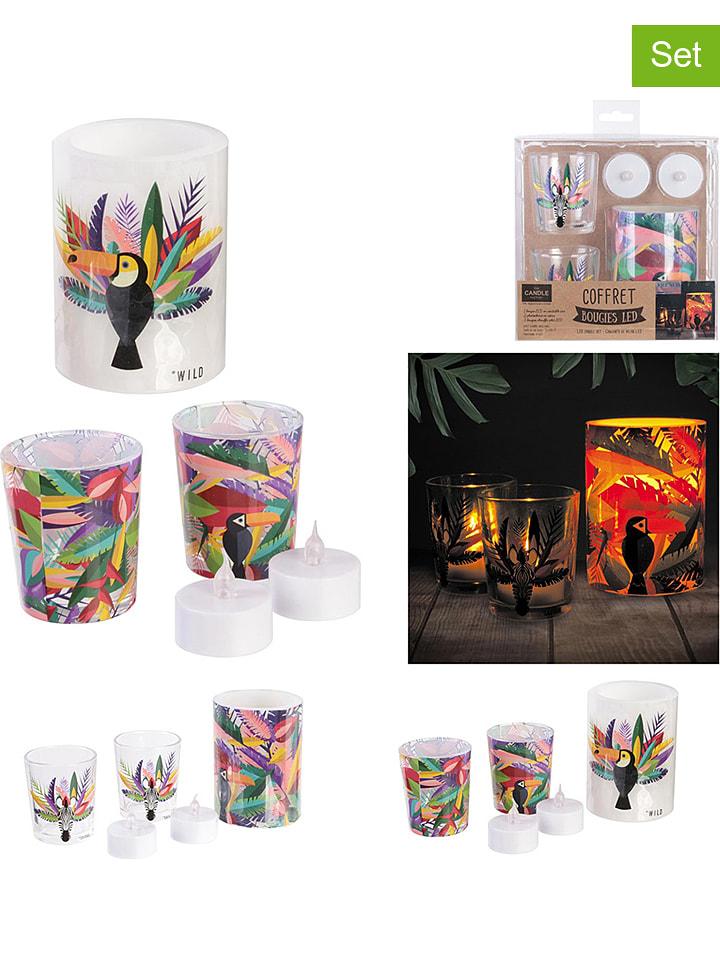 Lot de 5 : photophores et bougies LED - design aléatoire