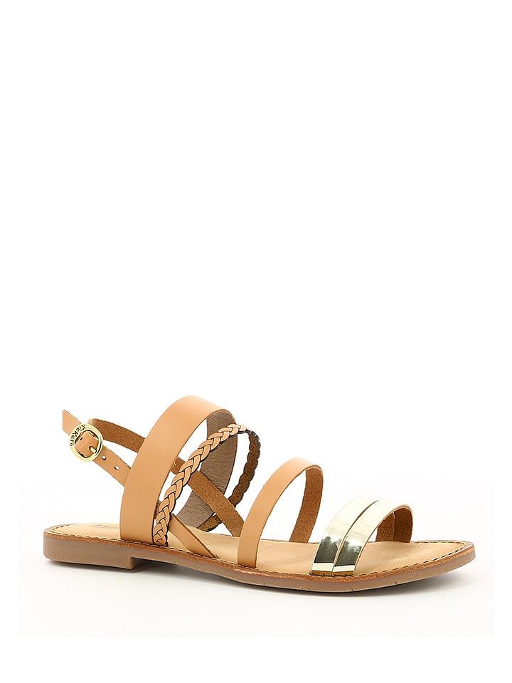 """Kickers Skórzane sandały """"Ethal"""" w kolorze jasnobrązowo-złotym"""