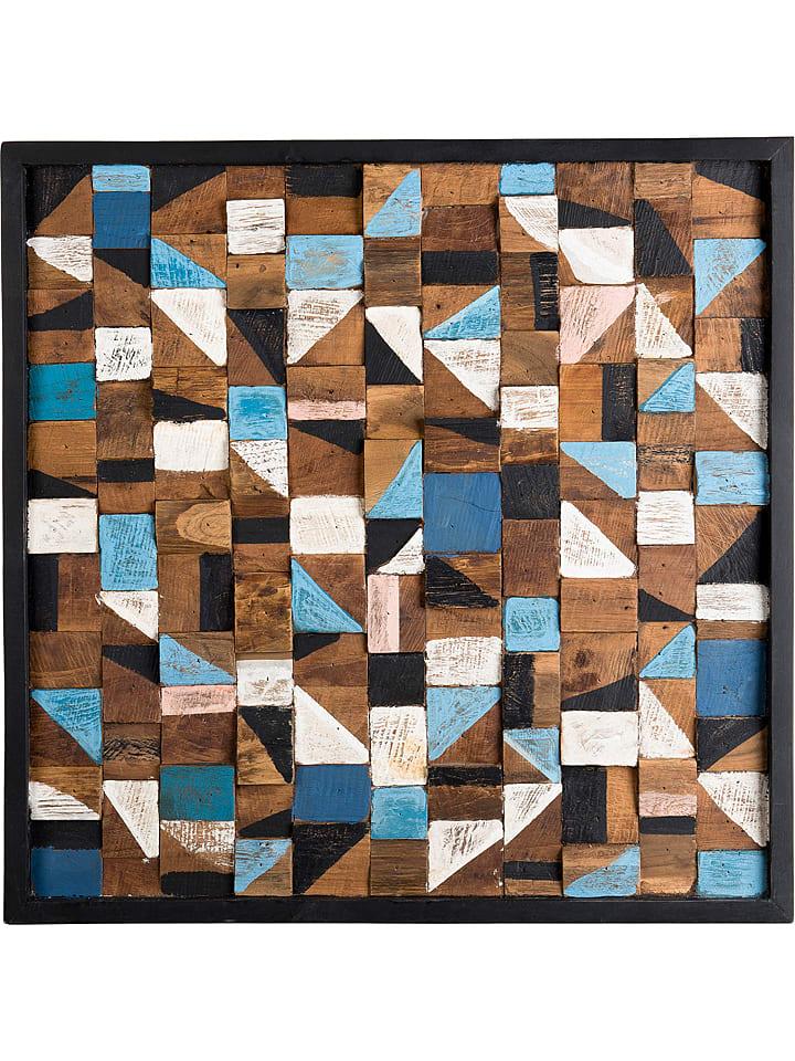 "Macabane Wanddecoratie ""Suzy"" teakhoutkleurig - (B)73 x (H)73 x (D)4 cm"