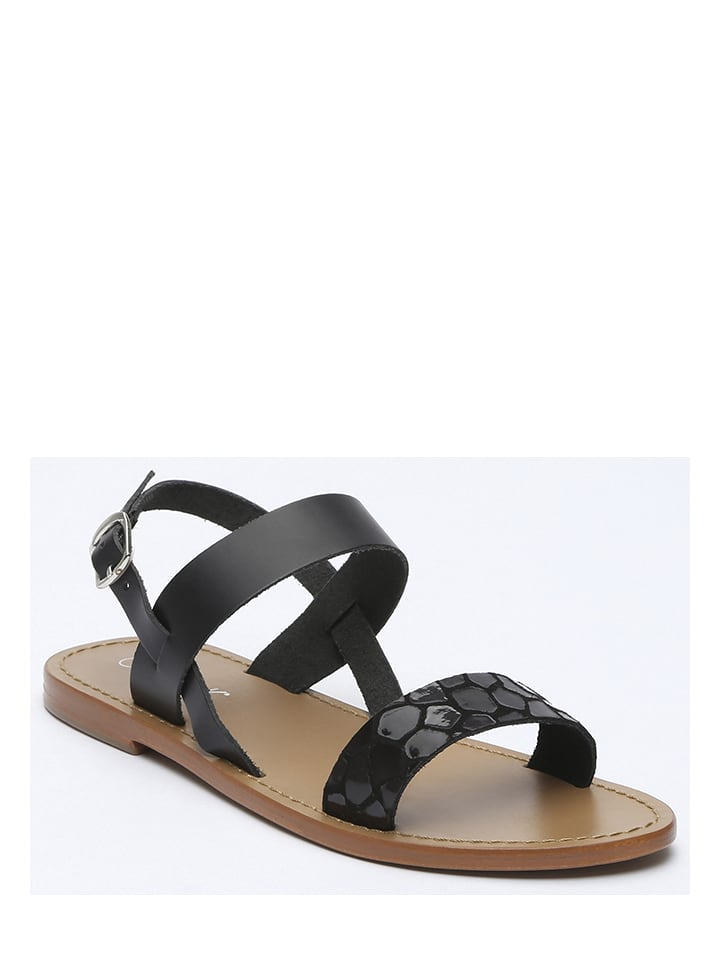 adc37bf532cda9 CALANK - Leren sandalen zwart   limango Outlet