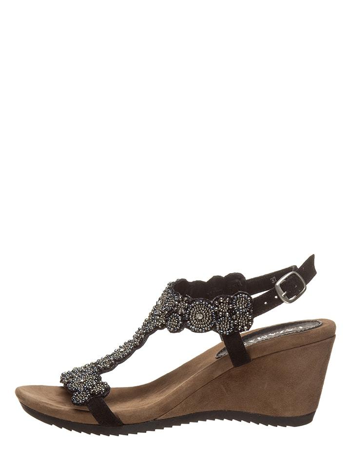 Lazamani Skórzane sandały w kolorze czarno-brązowym na koturnie