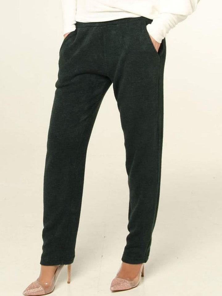 Bessa Spodnie w kolorze ciemnozielonym