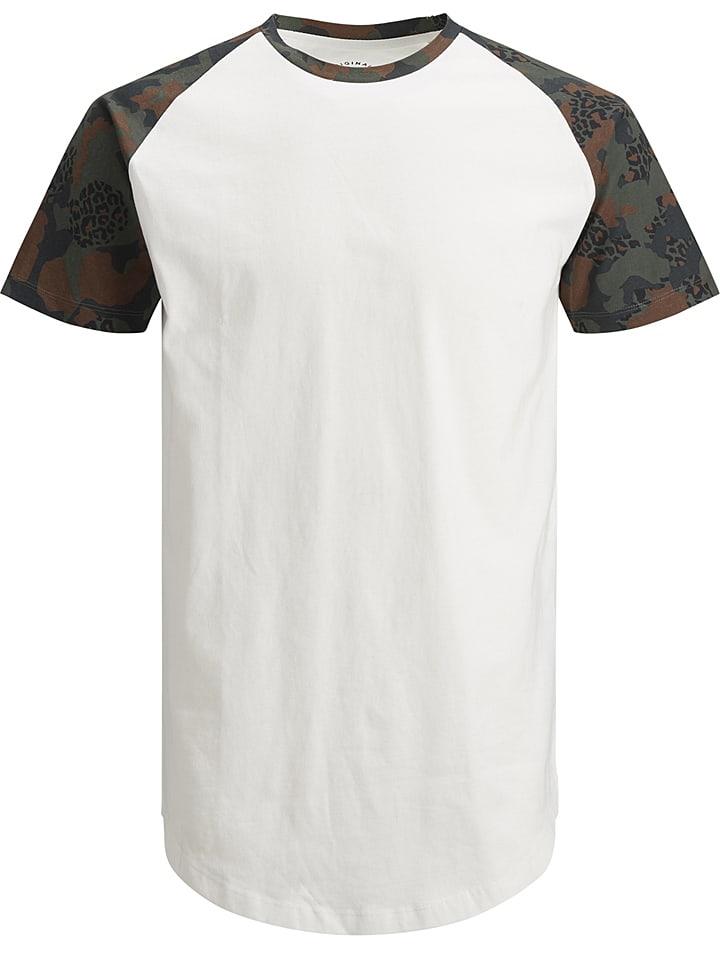 Jack & Jones Koszulka w kolorze biało-oliwkowym