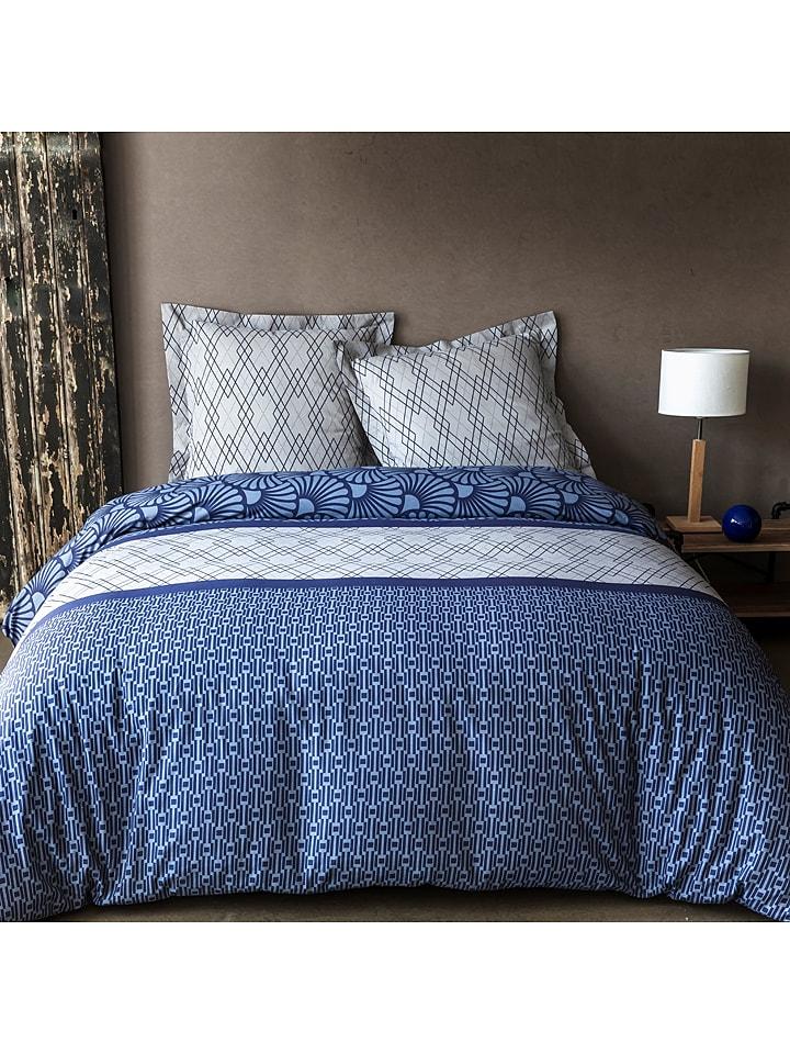"""Soft by Perle de Coton Beddengoedset """"Sally"""" blauw/grijs"""