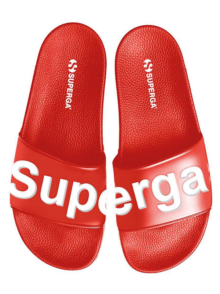 """Superga Klapki """"Slides"""" w kolorze czerwonym"""