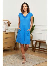 1cbc944289 73%  . Naturelle en lin. Lniana sukienka w kolorze niebieskim