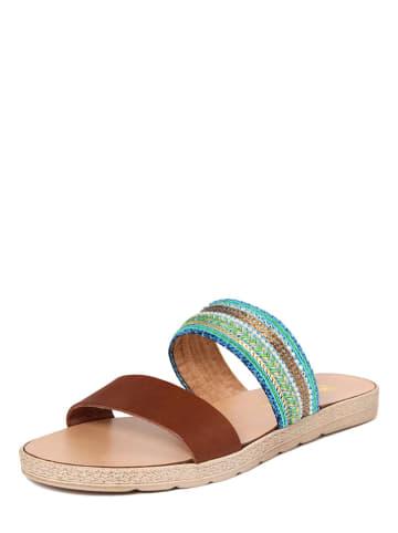 Gagliani Renzo Damen Sandale Leder Weiß Braun Größe 40