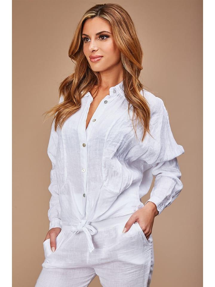 100% LIN Linnen blouse wit
