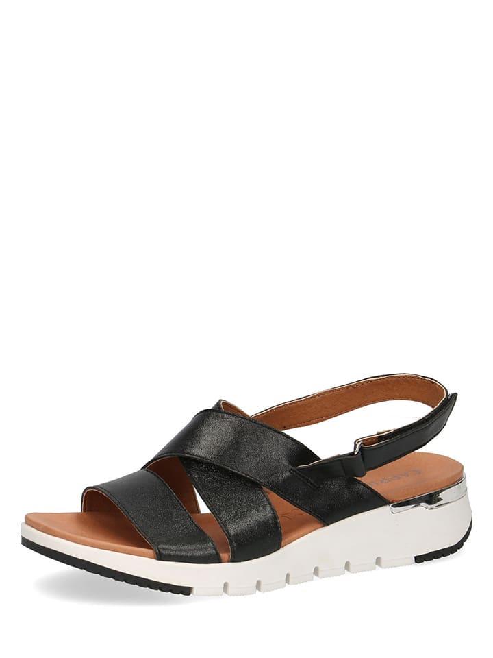 """Caprice Skórzane sandały """"Kandy"""" w kolorze czarnym"""