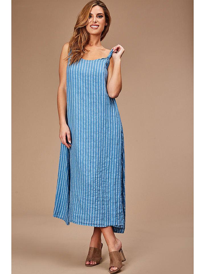 100% LIN Leinen-Kleid in Hellblau/ Weiß günstig kaufen ...