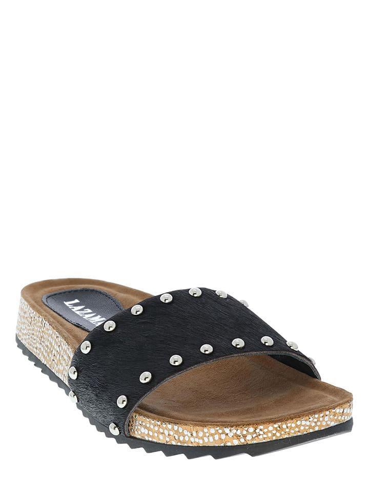 Lazamani Leren slippers zwart