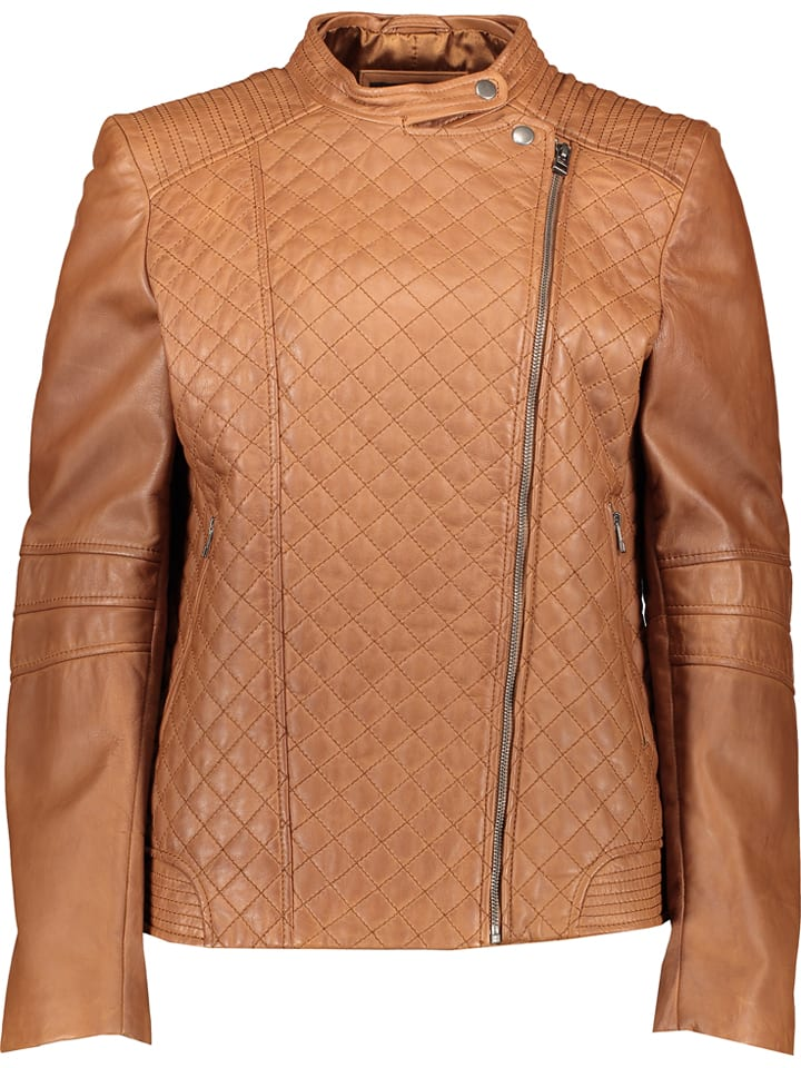"Giovanni Leather Leren jas ""Gatia"" lichtbruin"
