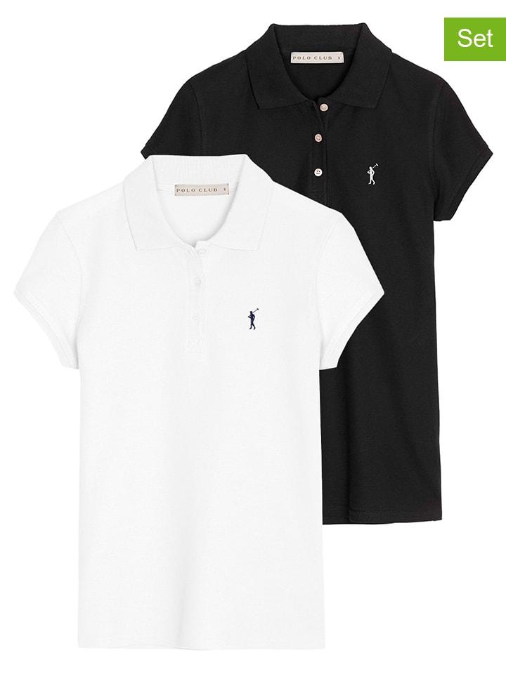 Polo Club Koszulki polo (2 szt.) w kolorze białym i czarnym