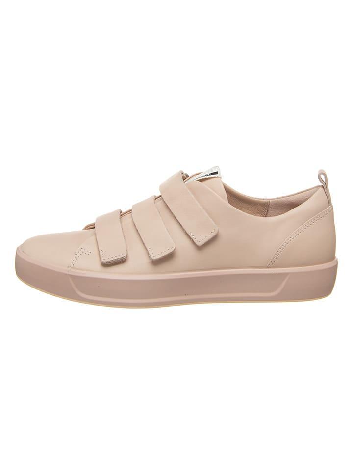 Ecco Skórzane sneakersy w kolorze jasnoróżowym