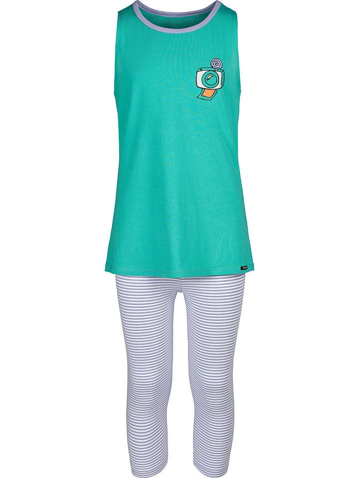 Skiny Pyjama turquoise/lichtpaars/wit
