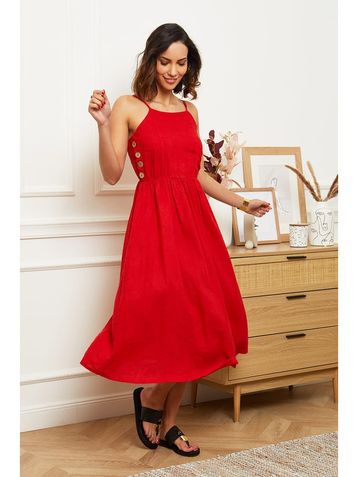 Le Monde du Lin Linnen jurk rood