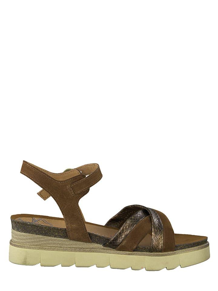Marco Tozzi Leren sandalen lichtbruin/goudkleurig