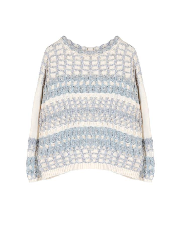 STEFANEL Sweter w kolorze biało-błękitnym